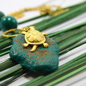 Turtle Pendant Polymer Clay Handmade Jewelry  Emerarld by biesge