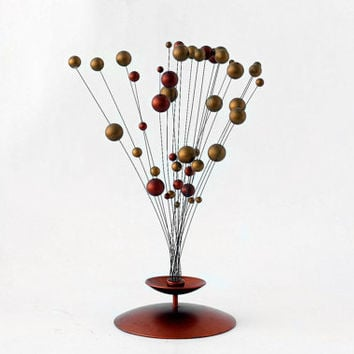 Mid Century Modern Kinetic Sculpture / Gold Copper Atomic Space Age Ball Tree / Laurids Lonborg - 60s Sweden