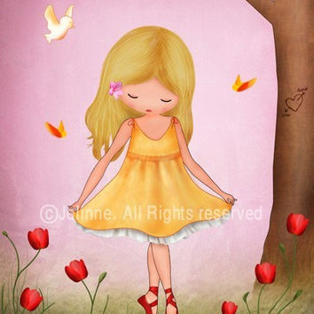 Art print for girls room, nursery art, ballerina, children room decor, pink wall art, children spring,  nature inspired