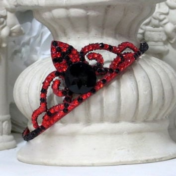 Party Hair Accessories - Red and Black Wedding - Bachelorette Party Accessories - Princess Party Accessories - Childs Tiara - Girls Gift