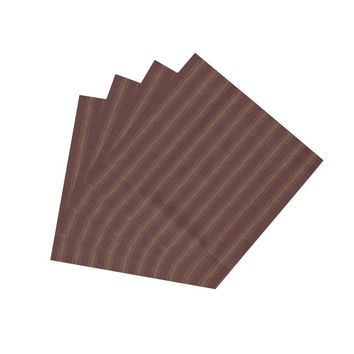 Deep Red With Tan Stripes Napkin Set of 4