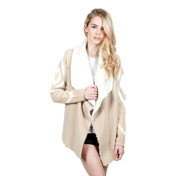 Aztec Patterned Jacket with Fur, Cream-Taupe (Size M)