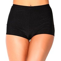 iHeartRaves High Waisted Casual Dance Shorts, Shiny Bottoms for Club Wear, Raves, Costumes (Black)