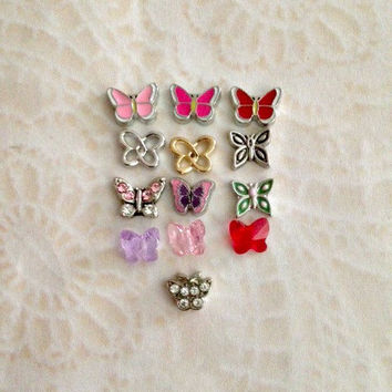 Butterflies floating charms for memory lockets