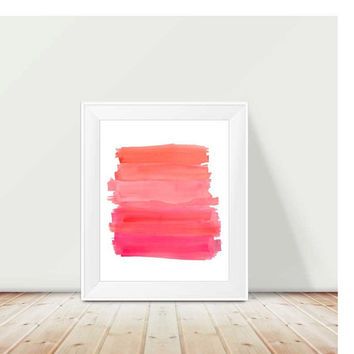 Playroom Art, 11x14 Watercolor Print, Pink and Orange Decor, Coral and Pink Art, Hot Pink and Orange Nursery Art, Kids Playroom Art