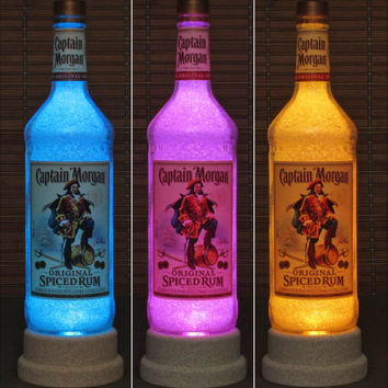 Captain Morgan Rum Color Changing RGB LED Remote Controlled Bottle Lamp Bar Light