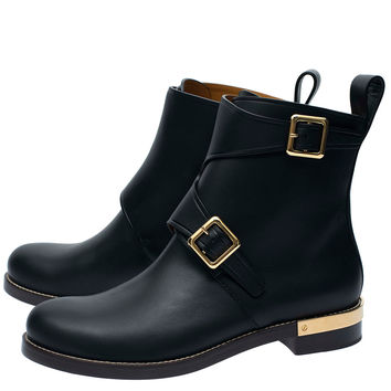 Chloe Black Combermere Buckle Metal Plate Leather Ankle Boots | Women's Shoes | Liberty.co.uk