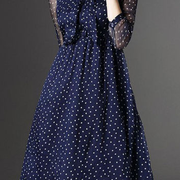 Sheer navy Polka Dot Tie Neck Midi Dress