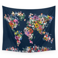 Society6 World Map Floral Wall Tapestry