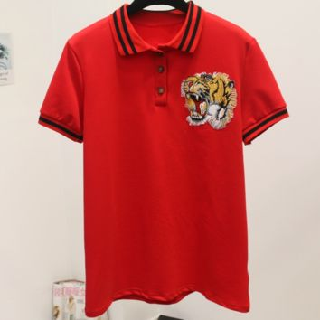 GUCCI 2018 summer tiger head embroidery wild short-sleeved T-shirt F0242-1 red