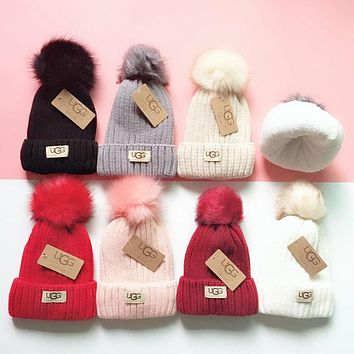 UGG Winter Stylish Women Men Cute Velvet Warm Knit Hat Cap