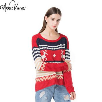 Winter Women Christmas Sweater Deer Print Pullover Long Sleeve IrrgularHem Warm Lady Pullover Autumn Sweater Women Jumper Pochos