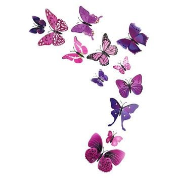 DIY VINYL WALL STICKERS 3D PVC BUTTERFLIES ADHESIVE DÉCOR ART WALL DECORATIVE ROOMS.