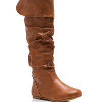 Slouchy-Faux-Leather-Boots BLACK CHESTNUT - GoJane.com