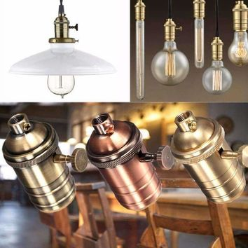 Light Base E26/E27 Solid Lamp Base Socket Vintage Edison Bulb Base Lamp Holder Industrial Bulb Pendants 2 Way Knob