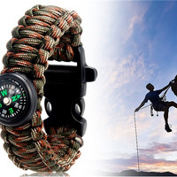 Multifunctional Outdoor Survival Wrist Strap Bracelet with Compass (Camouflage)