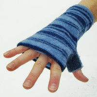 Fingerless Mitts in Double Blue Stripes - Recycled Wool - Fleece Lined