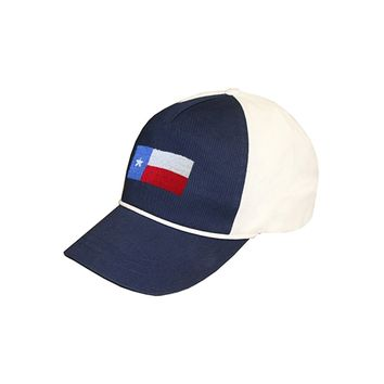 Texas Flag Rope Snapback Needlepoint Hat in Navy-White by Smathers & Branson
