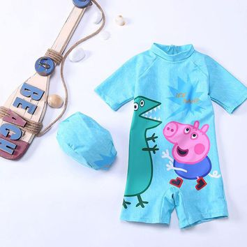 Kids Bathing Suit Sexy Swimsuits Bikini For Children's Swimwear 2018 New Children Swimsuit Cream Boy Cute 28003 Animal Polyester
