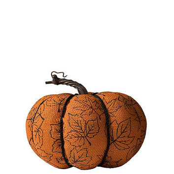 Fall Burlap Pumpkin 7in x 5 3/4in