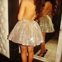Starry Sexy backless lace sequined tutu dress gold, Dress, sexy chic dress lady, Chic
