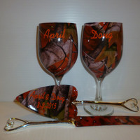 Orange camo rustic wedding wine glasses and wedding serving set hydrodipped