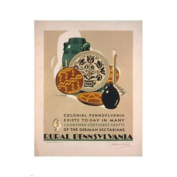 RURAL Pennsylvania VINTAGE TRAVEL POSTER K Milhous 24X36 POTTERY jars STYLE