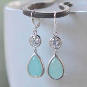 Bridesmaid Jewelry Aqua Grayed Jade Teardrop and Clear CZ Dangle Bridesmaid Earrings in Silver.  Drop Earrings. Aqua Dangle Earrings.