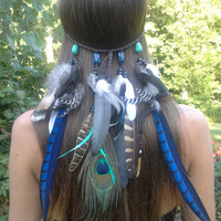 Sapphire Princess - Feather headband, native, american, style, indian headband, tribal headband, bohemian headband, exotic Headband, peacock