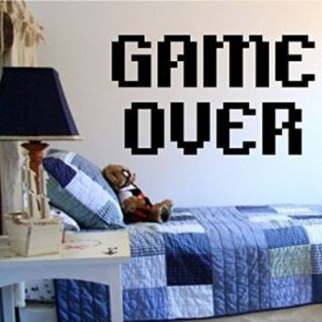 Game Over Video Game Gamer Controllers Decal Sticker Wall Boy Girl Teen Child Sport Fight
