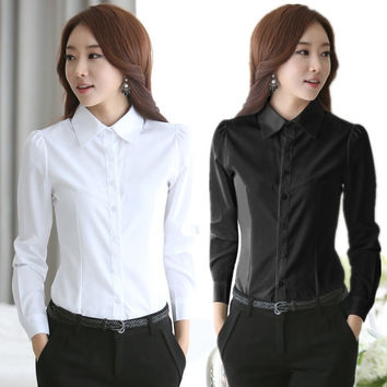 Spring 2015 Formal Office Lady Chiffon Blouse Shirt for Women Long Sleeve Lapel Collar White Plus Size S-XL XXL XXXL 3XL 4XL = 1958567748