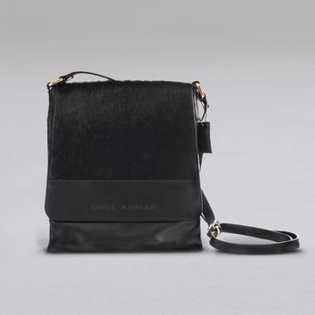 Leather Messenger Bag With Calf Hair