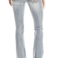 Miss Me Junior's Sequin Fleur De Lis Bootcut Denim Jeans