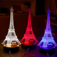 3D Creative USB Tower Desk Table Night Light Bedroom Touch Sensor LED Lamp