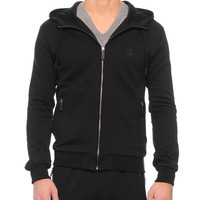 Zip-Front Hoodie with Crown Patch,