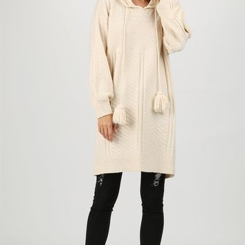 Hoodie Sweater Tunic - Beige by POL Clothing