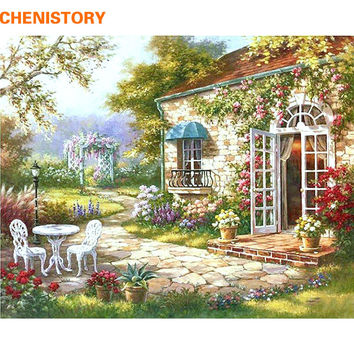 CHENISOTRY Garden House DIY Painting By Numbers Abstract Modern Oil Painting Home Wall Art Decor For Living Room Artwork 40x50cm