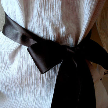 Black Satin Ribbon Bridal Sash Belt, Double Faced Satin Ribbon sash