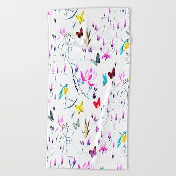 Butterflies Forest Beach Towel by Azima