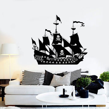 Vinyl Wall Decal Pirate Ship Boat Sail Ocean Sea Style Stickers Unique Gift (1044ig)