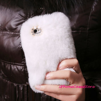 iphone 5 case iphone 5 cover iPhone 4s case luxury fur iPhone 4 case White fur Warm Unique Furry iPhone cover rabbit skin iPhone5 iPhone4