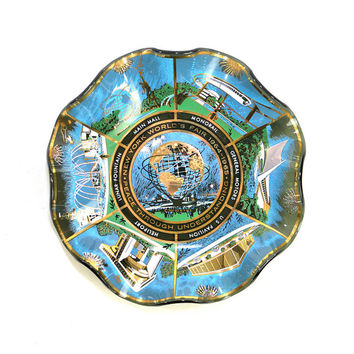 New York NY World's Fair 1964-1965 Smoked Glass Ruffle Plate - Unique Retro Souvenir Dish of Exhibitions - Vintage Home Decor