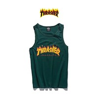 THRASHER 2018 Men's Classic Flame logo letter printed basketball sweat vest F-Great Me Store green