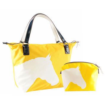 Julie Tote and Medium Cosmetic Bundle with Horse Silhouette