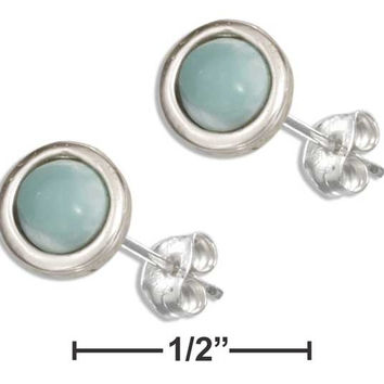 STERLING SILVER 7MM ROUND LARIMAR EARRINGS