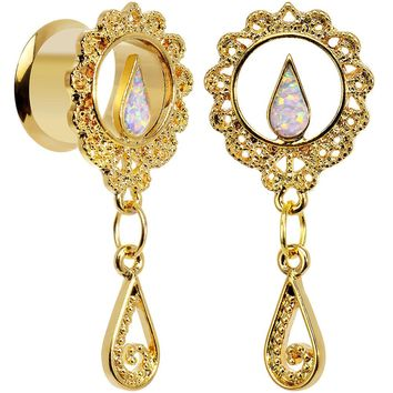 "1/2"" White Faux Opal Gold Anodized Ornate Dangle Tunnel Plug Set"