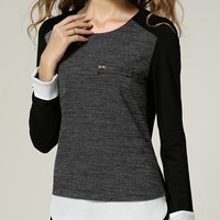 Black Long Sleeve Zipper Split Shirt