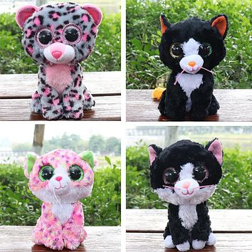 Ty Beanie Boos Gray Cat Plush Toy Doll Baby Girl Birthday Gift Stuffed & Plush Animals 15cm Big Eyes Stuffed Animals & Plush
