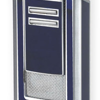 Lotus L46 Navy & Polished Chrome Triple Flame Lighter with Punch