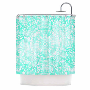 "Nika Martinez ""Boho Flower Mandala in Teal"" Aqua Green Shower Curtain"